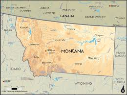 geographical map of montana and montana geographical maps