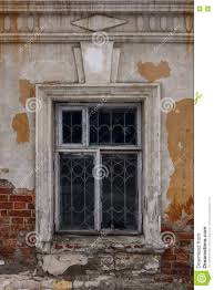 Window In An Old House Brick Walls With Crumbling Plaster Stock