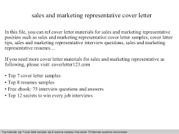 Sales Position Cover Letter Sample Sales And Marketing Representative Cover Letter