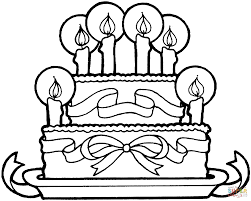 Ribbon And Cake Happy Birthday Coloring