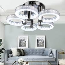 european modern round acrylic chandelier ceiling pendant light 5 18w led lamp bp
