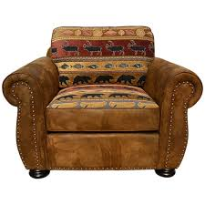Porter Hunter Lodge Style Brown Accent Chair with Deer Bear and