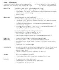 Analytical Chemist Resume Sample Chemist Resume Chemist Resume Simple Resume For Entry Level
