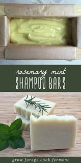 shampoo bars cooling in a pan and a stack of homemade rosemary mint shampoo bars