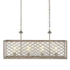 4 light gilded pewter linear chandelier with interweaving open cage frame