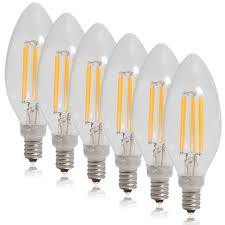 dimmable clear filament candelabra led light bulb warm white 550 lumens 6 pack