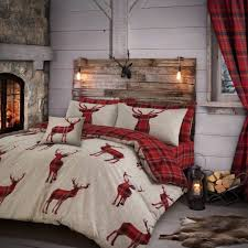 stag red check reversible duvet quilt cover bedding set single double