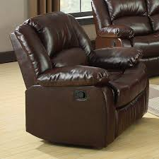 furniture of america winslow rustic brown bonded leather recliner
