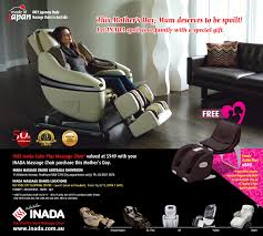 massage chair au. mothers day 2015 with inada - free cube plus massage chair (valued at $949) purchase*! au