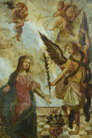 religious painting the annunciation 17th italy angel gabriel mary on marble