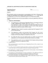 Letter Of Recommendation For Appointment To Board Fillable Online Specimen Of Appointment Letter To