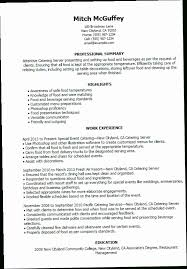 Server Resume Duties Custom Catering Server Resume DUTV