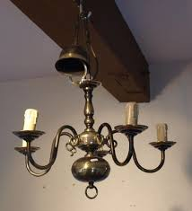 5 arm brass vintage continental chandelier from the 1940s 1950s 281972948