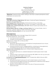 Effective Resume Example For Internship Students In Property