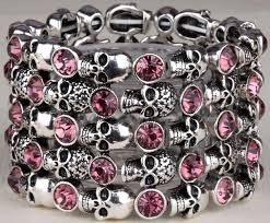 skull skeleton stretch bracelet for women biker bling jewelry antique gold silver plated w crystal whole dropship d07