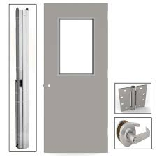 gray flush steel vision light commercial door unit with hardware ukhg3684l the home depot