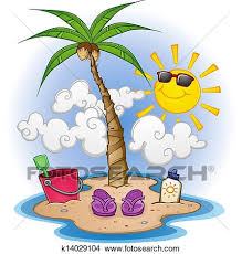 a cartoon scene of a tropical beach with sandals sunscreen and a smiling sun character