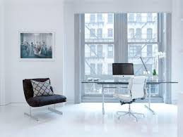 home office glass desk. Cool Black And White Home Office Interior Set With Glass Desk In Front Of Hung Windows For Stunning Loft