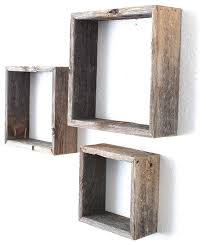 barnwoodusa rustic open box shelves 100 percent reclaimed wood weathered gray rustic display and wall shelves by barnwoodusa llc