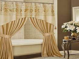 elegant extra long shower curtain liner plus tile wall and side table for bathroom decoration ideas
