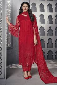 Red Net Dress Design Net Fabric Function Wear Embroidered Red Designer Straight Cut Dress