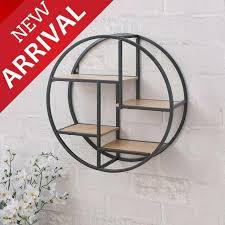 round iron floating shelf display unit