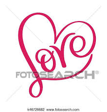 Word In Red Love Word In Red Heart Vector Calligraphy And Lettering