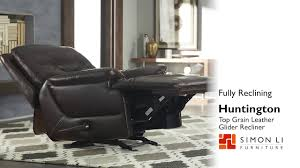 huntington top grain leather glider recliner