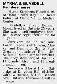 Obituary for Myrna Stephens BLASDELL (Aged 95) - Newspapers.com