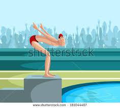 pool splash vector. Cartoon Style Swimmer Diving Into Pool In Vector Splash