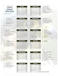 How To Make A School Calendar Friend School 2015 2016 Friend School Calendar