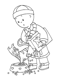 Caillou Coloring Pages Feeding A Cat Coloringstar