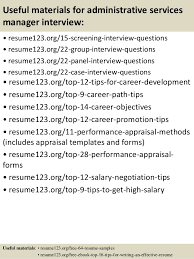 Top   administrative services manager resume samples SlideShare         Useful materials for administrative services manager
