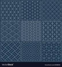 Sashiko Patterns Awesome Sashiko Seamless Indigo Dye Pattern Royalty Free Vector