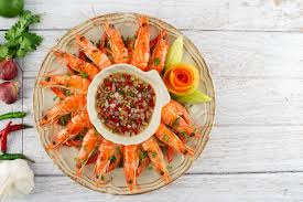 Shrimps With Seafood Chili Sauce Stock ...