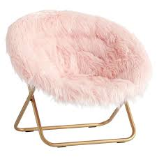himalayan blush faux fur hang a round chair pbteen