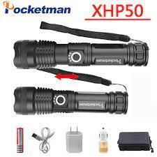 Pocketman 20000 Lumens Đèn Pin Xhp50.2 Mạnh Đèn Pin Usb Zoom Đèn Pin Led Đèn  Lồng Xhp50 Sử Dụng Pin Sạc 18650|LED Flashlights