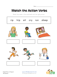 Verb Action Matching Action Verbs Worksheet All Kids Network