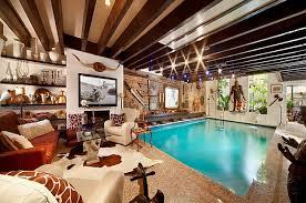 House with Swimming Pool in Living Room