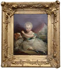 antique oil painting of a little boy and dog