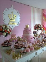 Gold Pink Princess Birthday Party Dessert Table Decor Vivis