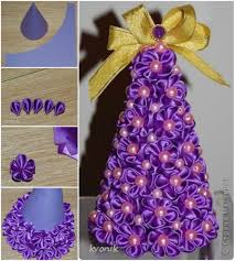 Paper Flower Christmas Tree Wonderful Diy Mesh Ribbon Christmas Tree