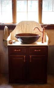 Single Vessel Sink Bathroom Vanity Vintage Brown Stained Wooden Vanities With Copper Vessel Sink And
