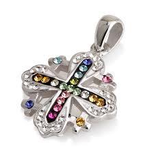 details about jerum cross pendant multi colors gemstones sterling silver 925 chain