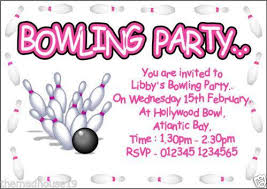Bowling Party Invitation Bowling Party Invitations Cards Stationery Ebay
