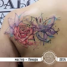 цветы в стиле акварель на лопатке фото татуировок