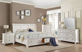 White Platform Bed with 2 Drawer Storage Bedroom Collection