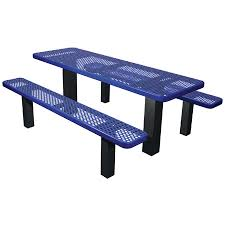 commercial outdoor permanent mount expanded metal picnic table select your color code tcb lc t8xpm 569 99 669 99