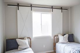 diy barn door window treatment