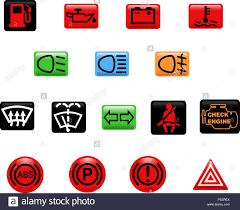 Car Warning Lights Computer Generated Illustration Set Of Icons Car Warning